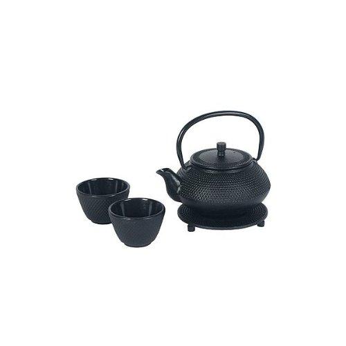 Japanese Cast Iron Pot tea set Black w/ Trivet