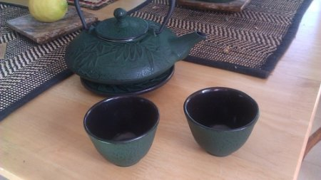 Japanese Cast Iron Tea Set /Mochi Bamboo Green