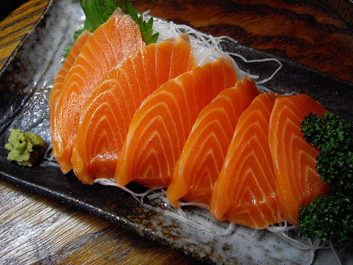 sashimi: salmon trout (?rom Chile) by [puamelia], on Flickr