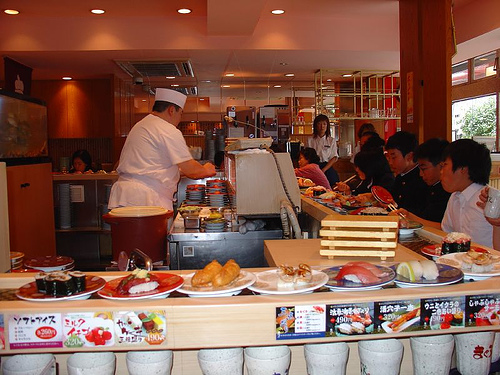 Conveyor Belt Sushi by amanderson2, on Flickr