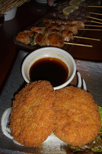 Korokke and Yaki Tori by Social Geek, on Flickr