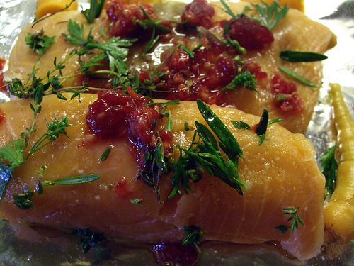 Salmon, carrots, raspberries, cilantro, by SMcGarnigle, on Flickr
