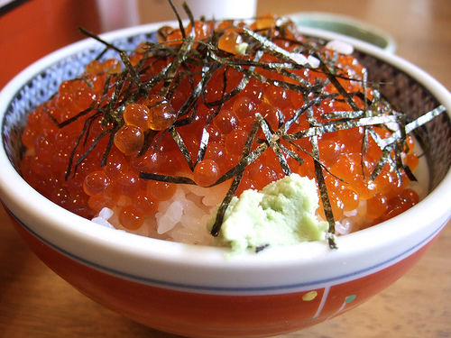 Rice bowl topped with salmon caviar by pelican, on Flickr