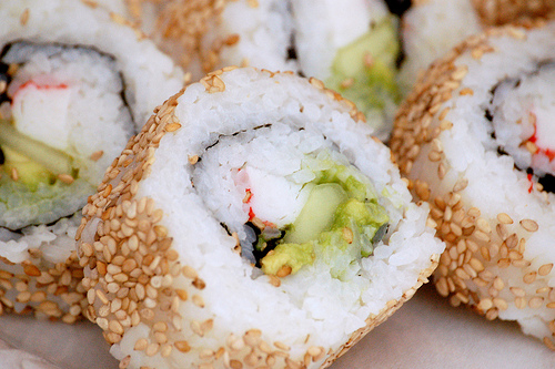 Inside-out California Rolls by ayesamson, on Flickr