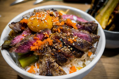 Steak Donburi by jonolist, on Flickr